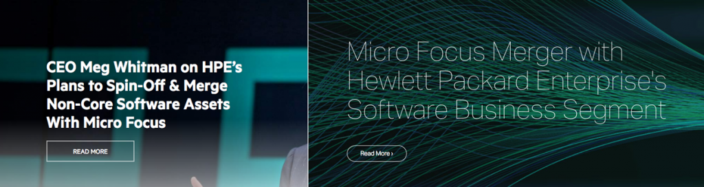 Screenshots of HPE's and Micro Focus's merger announcements on September 7, 2016